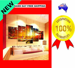 5 PANELS CANVAS PAINTING WALL ART MAPLE FOREST HOME DECOR LIVING ROOM UNFRAMED*