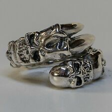 Skull Dragon Claw Ring .925 sterling silver Metal Biker Gothic Punk feeanddave
