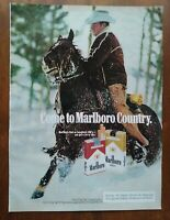 1979 Marlboro Cigarettes Promo Cowboy On Horse In Snow Photo Vintage Print Ad