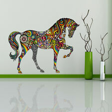 Removable Colorful Horse Flower Design Decal Wall Sticker Home DIY Decor HOT
