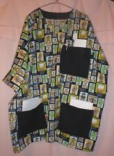 Western Icons on Black Scrubs Top with 3 Black Pockets for Size 3X  FSMTP51