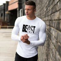 Men New Fitness Workout Long Sleeves Bodybuilding Muscle T-Shirts Crop Clothing