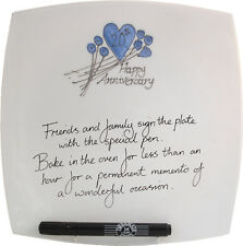 20th Wedding Anniversary Gift Square Plate Flower