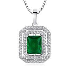 Neu 925 Silber Schmuck Mode Smaragd Zirkonia Halskette Kreativ Schöne Oben Neue