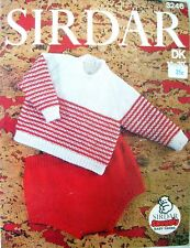 "Sirdar Knitting Patterns - BABIES' SWEATER & PANTS - in DK To Fit 19-20"" Chest"