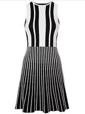 Jaegar Black and White Striped Knitted Flared Dress, Size Small, New with Tags