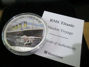 2005 RMS TITANIC COLOURED 1oz .999 SILVER EAGLE DOLLAR WITH BoxCOA MAIDEN VOYAGE