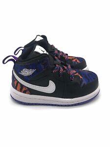 New Jordan 1 Mid SE (TD) Toddler Size 5C Basketball Shoe Black White Violet NEW