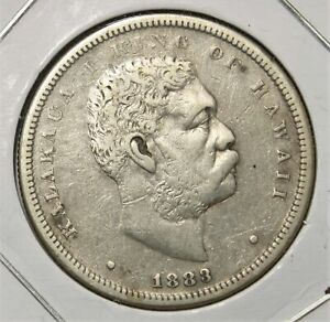 Kingdom of Hawaii 1883 Silver Half Dollar 50c 876I