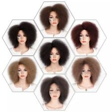 Women Synthetic Afro Wig  Short Yaki Straight Fluffy Wigs For African Ladies