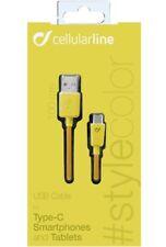 Cellularline USB-C Kabel Ladekabel Datenkabel 1m gelb NEU OVP