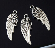 20 Tibetan Silver Angel Wing with Flower Rose Charms Pendants (TSC120)