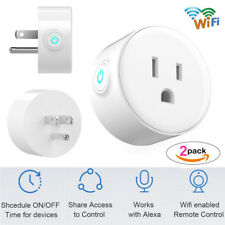 Smart Wi-Fi Mini Outlet Plug Switch Works With Echo Alexa Remote Control 2-Pack
