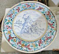 PIATTO FANGOTTO CERAMICA CALTAGIRONE seconda metà  '900 Cm. 43,5 decorato a mano