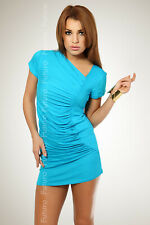 Womens Draped Mini Dress Short Sleeves Tunic One Size Elagant and Party 8004