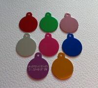médaille ronde alu gravée 3cm chien moyen 8 couleurs 4 lignes de gravure