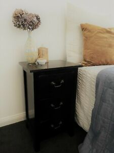 2 x Beautiful Stylish Solid Hard Wood Bedside Tables with 3 x Drawers