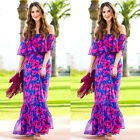 Boho Womens Off-shoulder Beach Casual Summer Floral Print Maxi Long Dress New