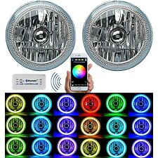 "7"" Bluetooth Phone App RGB SMD Color Change LED Halo Angel Eye H4 Headlight Pair"