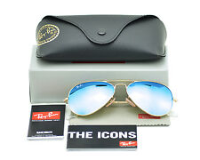 Ray Ban RB3025 Aviator 112/17 Gold/Blue Mirror Glass Lenses Unisex 55mm meduim
