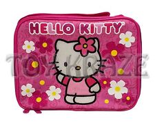 HELLO KITTY LUNCH BOX! PINK & WHITE GLITTER FLOWERS PAISLEY SCHOOL TOTE BAG NWT