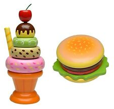 Build Your Own Sundae & Hamburger Wooden Stacking Toy Play Food