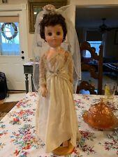 Antique Doll 20� In Wedding Dress Vintage American Mid Century