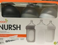 Boon Nursh Silicone Pouch Bottles 8oz 3pk - Gray Multi stage 2- New