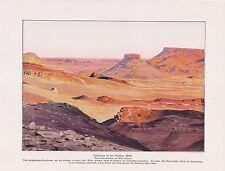 Tafelberge in der Libyschen Wüste Libyen Arabien  Farbdruck von 1912