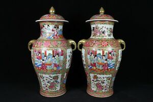 beautiful chinese gilded rose medallion porcelain a pair pots