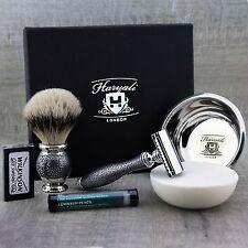 Afeitado clásico conjunto listo para usar de aletas plateadas Brush & de Safety Razor Para hombre Aseo