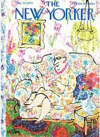 1970 Woman in Room Full of Flowers art by William Steig New Yorker COVER ONLY