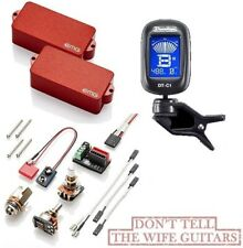 EMG P BASS RED ACTIVE PRECISION REPLACEMENT PICKUP POTS & WIRES ( DUNLOP TUNER )