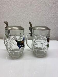 Bierkrug mit Zinndeckel Glas Jagd Konvolut Sammlung