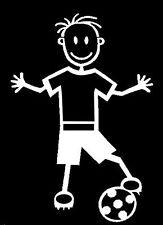 B3 BOY WITH SOCCER BALL - MY STICK FIGURE FAMILY CAR WINDOW STICKER DECAL