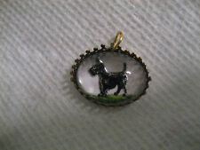 Scottie Dog Reverse carved and painted vintgage glass intaglio pendant