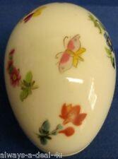 Limoges France White Porcelain Flower & Butterfly Trinket Box / Egg