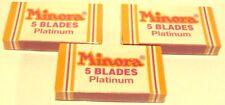 """VINTAGE NOS UNOPENED """"MINORA-PLATINIUM"""" 3 BOX x 5 SAFETY RAZOR BLADES  # 401"""