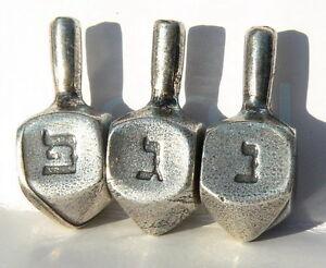 Lot 3 Mini Metal Hanukkah Dreidels ! Jewish Spin Top Judaica Gift Made in Israel