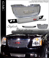 For 2007-2014 Gmc Yukon Chrome Round Hole Upper & Lower Front Hood Grill Grille (Fits: Gmc)