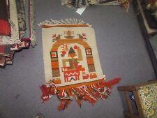 NWT NEW Russian Folk Art Kilim Hand Knotted Wool Tapestry 1/'-8 x 1/'-3 Ivory Ram