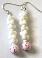 white bead cross pattern EARRINGS