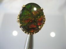 VINTAGE 10K YELLOW GOLD AMMOLITE RING 3.1 GRAMS SIZE 6