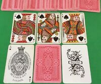 Old Antique DE LA RUE Wide Bezique Pack Playing Cards PINK FLOWERS Art Design 1