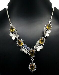 Handmade 925 Sterling Silver Yellow Citrine Gemstone Jewelry Necklace Size-17-18