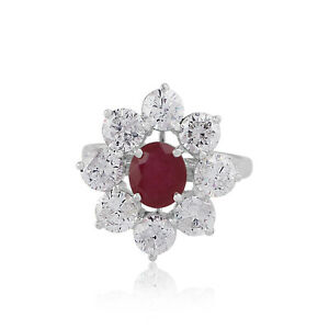 18k White Gold 4.95 TCW Ruby Gemstone Fine Cocktail Ring SI/HI Diamond Jewelry