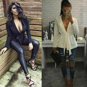 New Womens Crepe Belt Lapel Long Line Tuxedo Blazer Dress Size UK 8-18