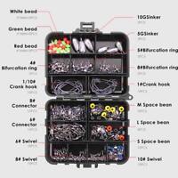 160pcs/Box Fishing Hooks Swivels Lead Fishing Sinker Carp Fishing Tackle Kits