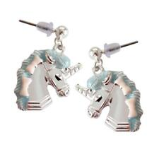SILVER PLATED & ENAMEL EARRINGS - UNICORNS - FREE UK P&P........CG1869
