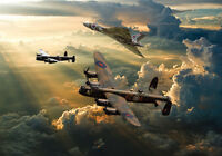Avro Vulcan XH558 & Avro Lancasters canvas prints various sizes free delivery